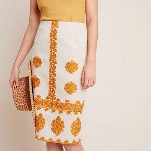 AnthropologieVerona Embroidered Pencil Skirt